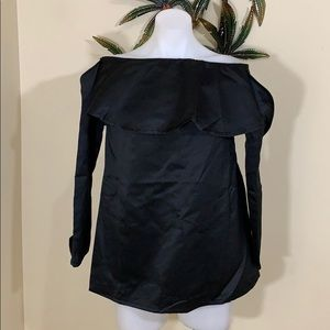 Nasty Gal black satin feel cold shoulder top NWT